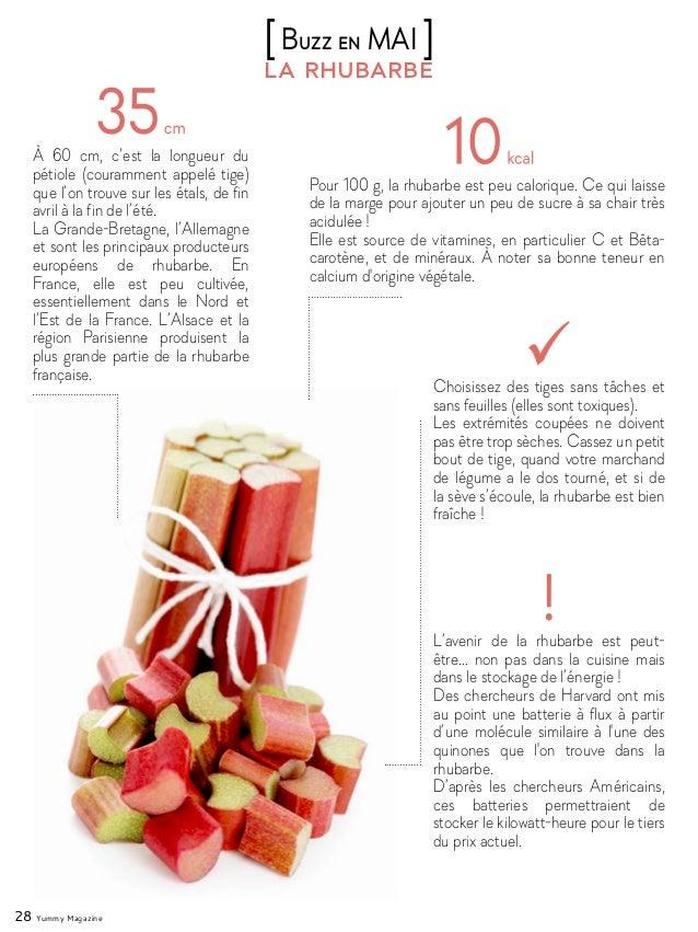 28 Yummy Magazine la rhubarbe [Buzz en MAI ] À 60 cm, c'est la longueur du pétiole (couramment appelé tige) que l'on trouv...