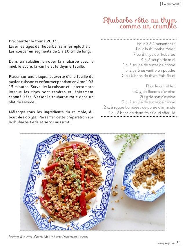 Pour 3 à 4 personnes : Pour la rhubarbe rôtie : 7 ou 8 tiges de rhubarbe 4 c. à soupe de miel 1 c. à soupe de sucre de can...