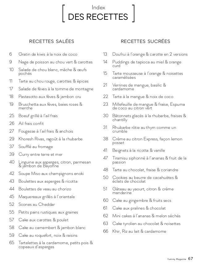 [ DES RECETTES ]Index 6 Gratin de kiwis à la noix de coco 9 Nage de poisson au chou vert & carottes 10 Salade de chou b...