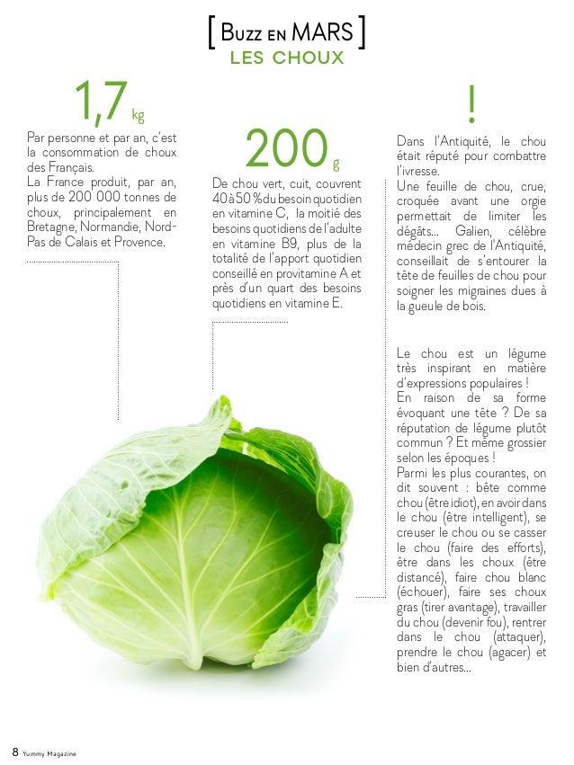 8 Yummy Magazine les choux [Buzz en MARS ] Par personne et par an, c'est la consommation de choux des Français. La France ...