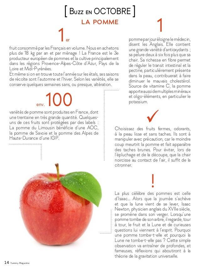 14 Yummy Magazine la pomme [Buzz en OCTOBRE ] 1er fruitconsomméparlesFrançaisenvolume.Nousenachetons plus de 18kg par an ...