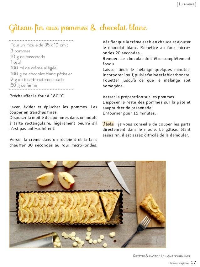 Gâteau fin aux pommes & chocolat blanc Préchauffer le four à 180°C. Laver, évider et éplucher les pommes. Les couper en t...