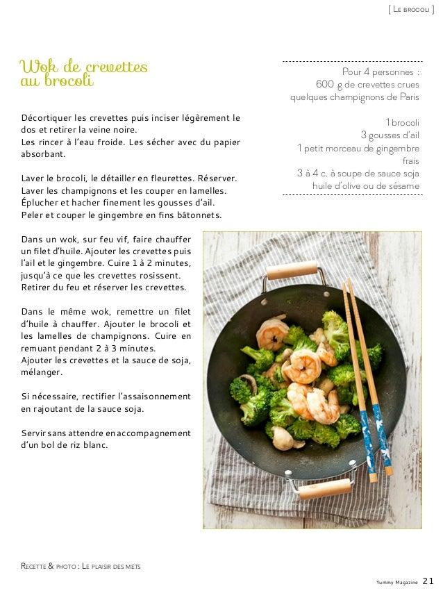Pour 4 personnes: 600g de crevettes crues quelques champignons de Paris 1 brocoli 3 gousses d'ail 1 petit morceau de gin...