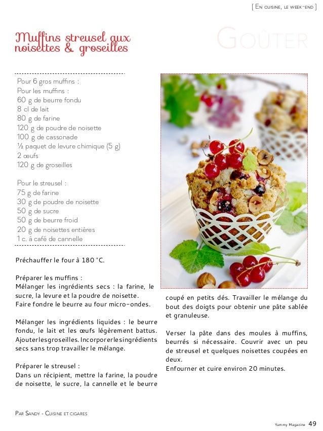 Yummy Magazine 49 [ En cuisine, le week-end ] Pour 6 gros muffins: Pour les muffins: 60g de beurre fondu 8cl de lait 8...