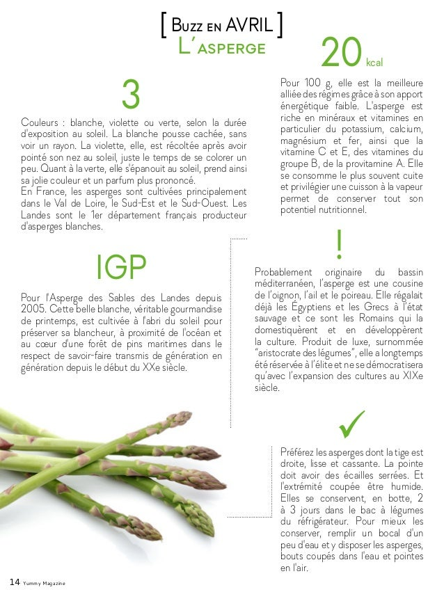 14 Yummy Magazine L'asperge [Buzz en AVRIL ] 3Couleurs : blanche, violette ou verte, selon la durée d'exposition au soleil...