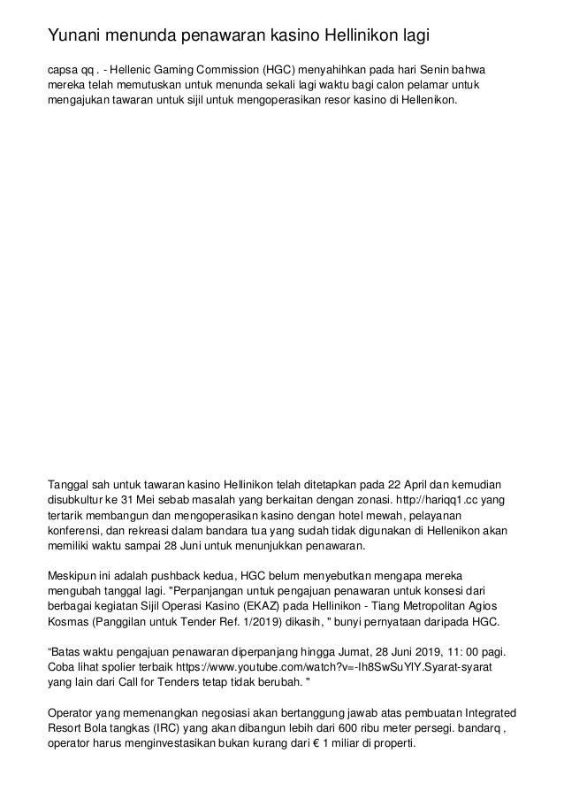 Yunani menunda penawaran kasino Hellinikon lagi capsa qq . - Hellenic Gaming Commission (HGC) menyahihkan pada hari Senin ...