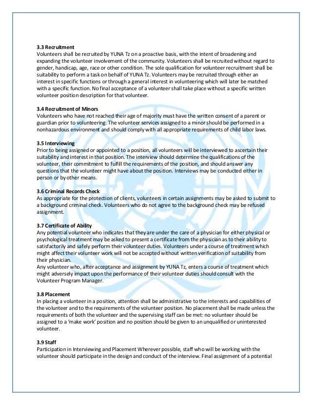 Yuna Volunteer Program Policy
