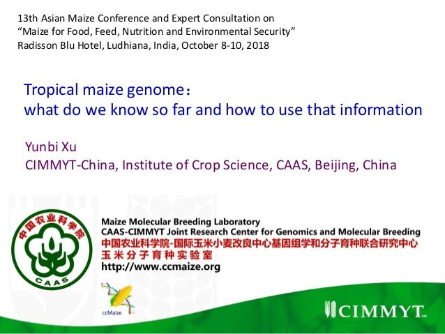 Tropical maize genome: what do we know so far and how to use that information Yunbi Xu CIMMYT-China, Institute of Crop Sci...