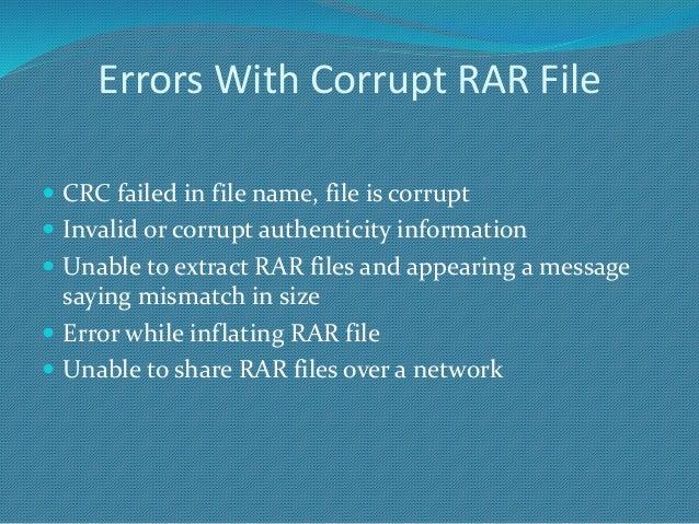 How To Fix Crc Error In Rar Files