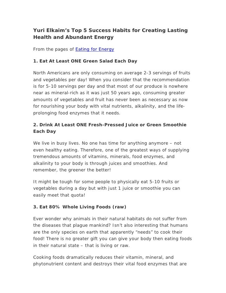 Yuri Elkaim's Top 5 Success Habits for Creating Lasting Health and Abundant Energy  From the pages of Eating for Energy  1...