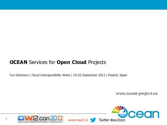 OCEAN Services for Open Cloud Projects Yuri Glickman | Cloud Interoperability Week | 18-20 September 2013 | Madrid, Spain ...