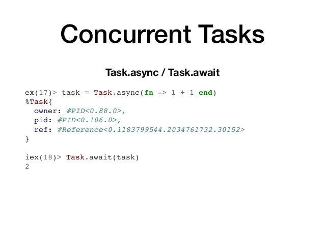 Concurrent Tasks Task.async / Task.await ex(17)> task = Task.async(fn -> 1 + 1 end) %Task{ owner: #PID<0.88.0>, pid: #PID<...