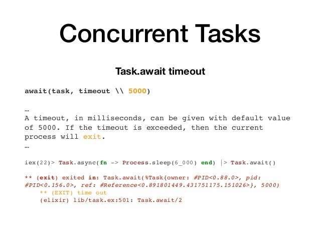 Concurrent Tasks Task.await timeout await(task, timeout  5000) … A timeout, in milliseconds, can be given with default val...