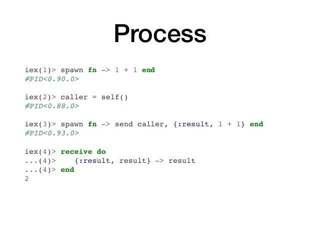 Process iex(1)> spawn fn -> 1 + 1 end #PID<0.90.0> iex(2)> caller = self() #PID<0.88.0> iex(3)> spawn fn -> send caller, {...