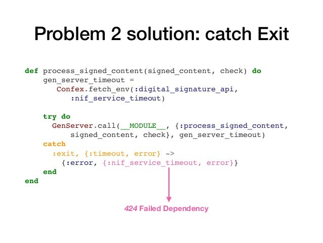 Problem 3: message queue NifService (GenServer) Processed requests 2s 2s 2s 2s Message queue Sequential responses 200 OK 2...