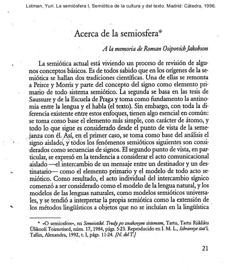 Lotman, Yuri. La semiósfera I, Semiótica de la cultura y del texto. Madrid: Cátedra, 1996.