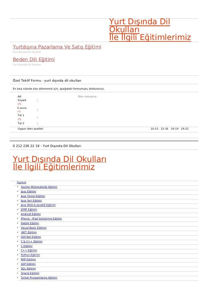 Yurt Dışında Dil                                                                     Okulları                             ...
