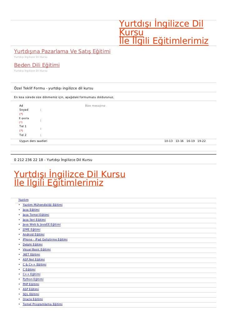 Yurtdışı İngilizce Dil                                                                     Kursu                          ...