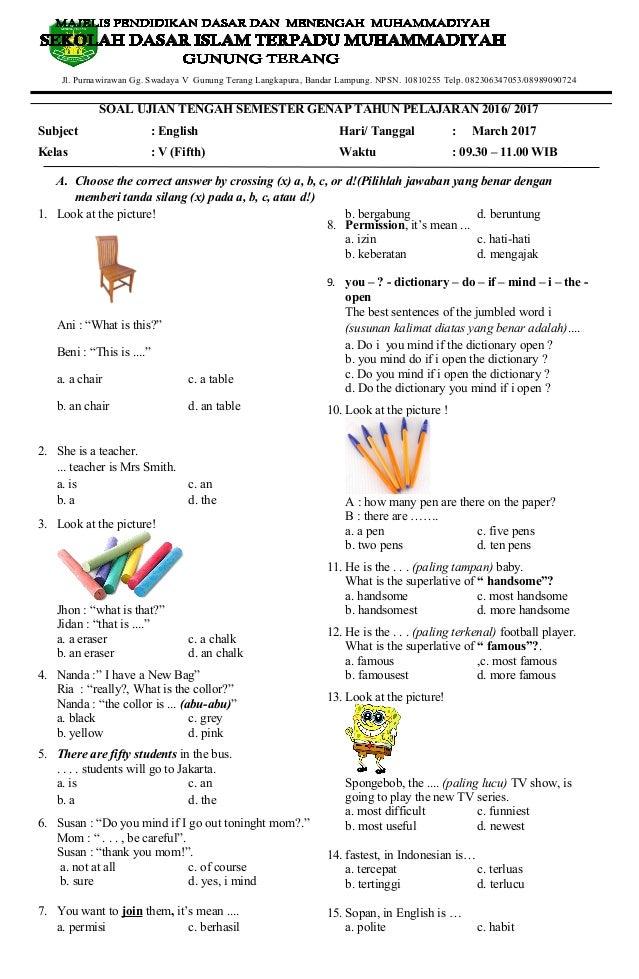 Soal Uts Bahasa Inggris Kelas 5