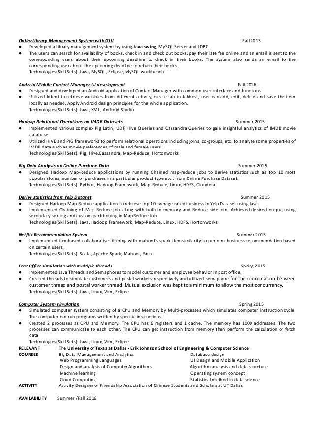 yu s resume