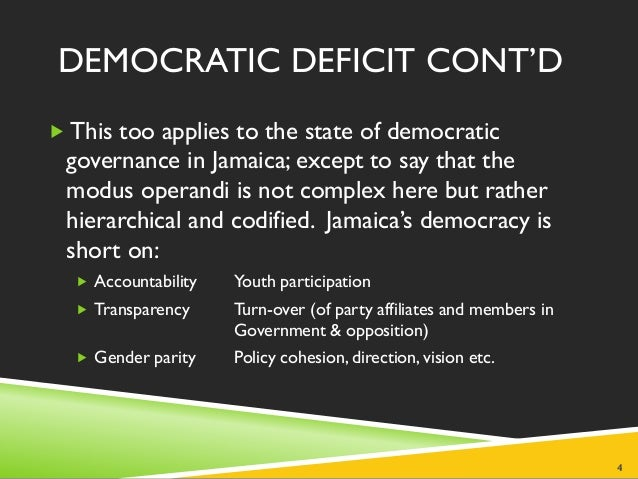 democratic deficit The future is bleak for our two-party system, for the dp and for the state of  american democracy.