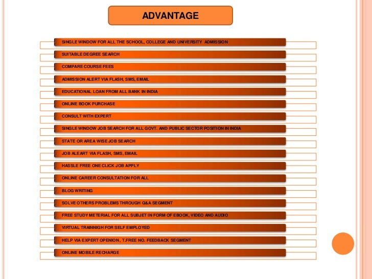 ADVANTAGESINGLE WINDOW FOR ALL THE SCHOOL, COLLEGE AND UNIVERSITY ADMISSIONSUITABLE DEGREE SEARCHCOMPARE COURSE FEESADMISS...