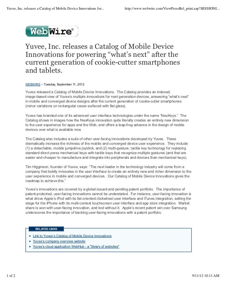 Yuvee, Inc. releases a Catalog of Mobile Device Innovations for...            http://www.webwire.com/ViewPressRel_print.as...