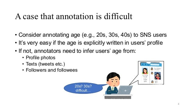 A case that annotation is difficult • Consider annotating age (e.g., 20s, 30s, 40s) to SNS users • It's very easy if the a...