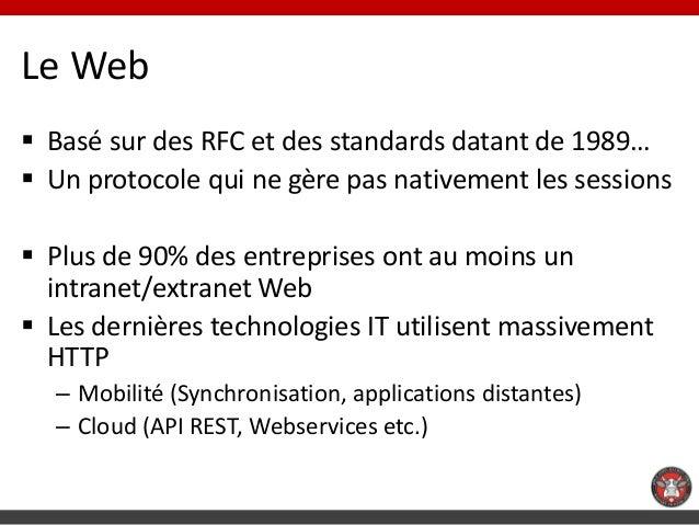 Le Web Basé sur des RFC et des standards datant de 1989… Un protocole qui ne gère pas nativement les sessions Plus de 9...