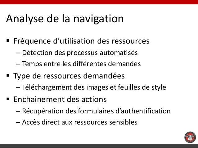 Analyse de la navigation Fréquence d'utilisation des ressources  – Détection des processus automatisés  – Temps entre les...