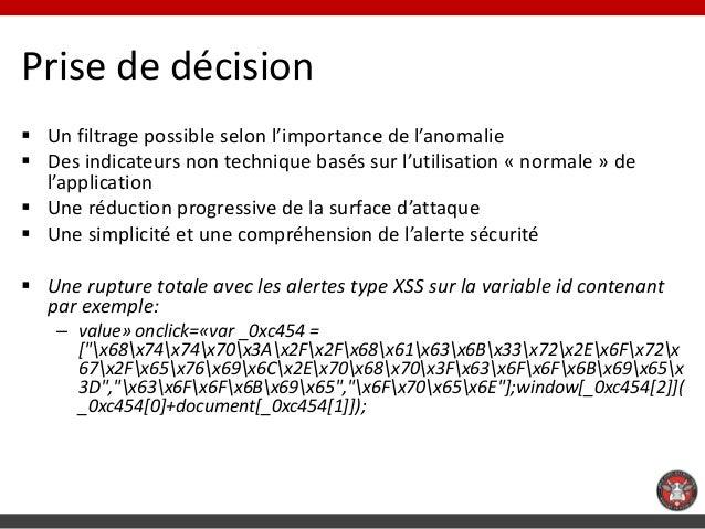 Prise de décision Un filtrage possible selon l'importance de l'anomalie Des indicateurs non technique basés sur l'utilis...