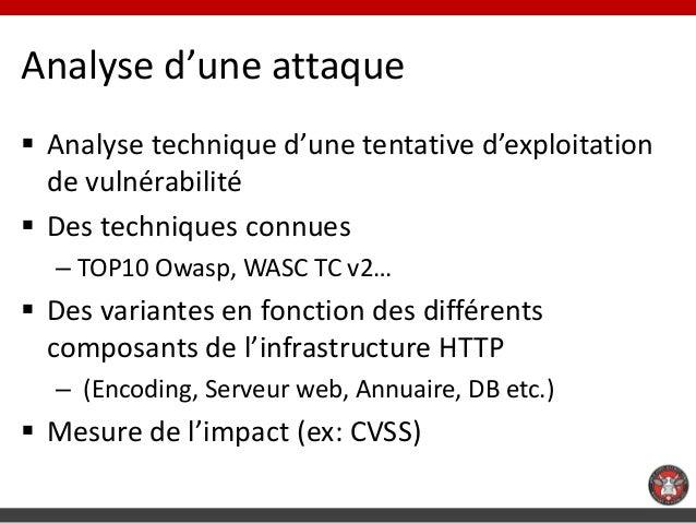 Analyse d'une attaque Analyse technique d'une tentative d'exploitation  de vulnérabilité Des techniques connues  – TOP10...