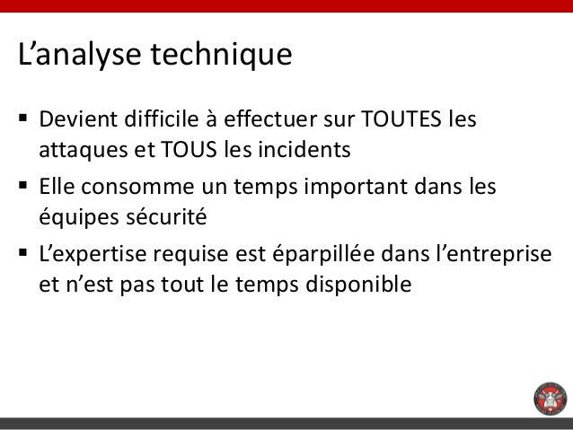 L'analyse technique Devient difficile à effectuer sur TOUTES les  attaques et TOUS les incidents Elle consomme un temps ...