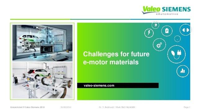 Unrestricted © Valeo Siemens 2018 19.06.2018 Page 1Dr. Y. Burkhardt / VSeA R&D Mot&GBX Challenges for future e-motor mater...