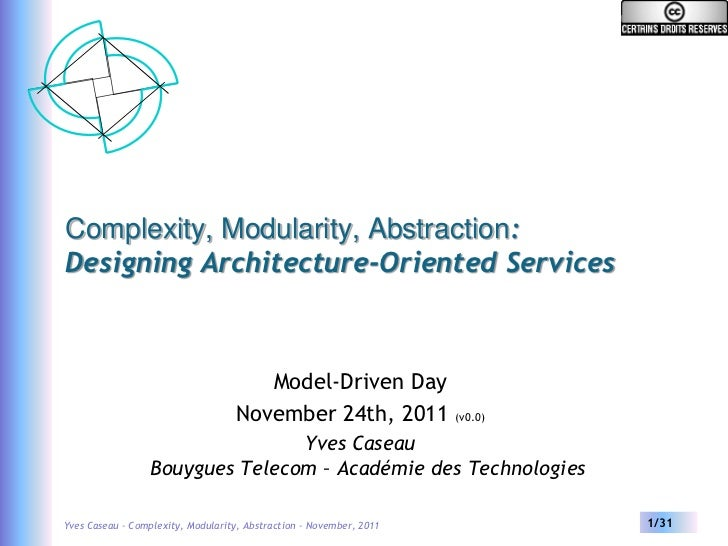 Complexity, Modularity, Abstraction:Designing Architecture-Oriented Services                                      Model-Dr...