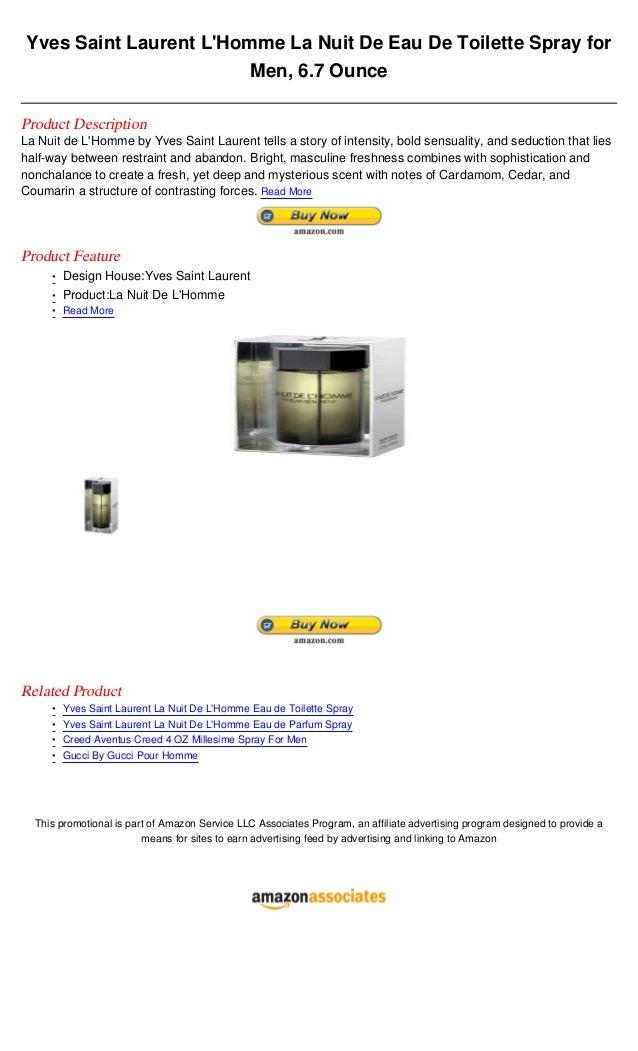 Yves Saint Laurent LHomme La Nuit De Eau De Toilette Spray for                         Men, 6.7 OunceProduct DescriptionLa...