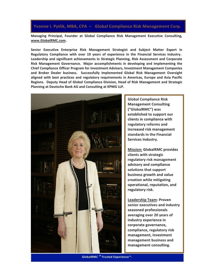 Yvonne I. Pytlik, MBA, CPA – Global Compliance Risk Management Corp. Managing Principal, Founder at Global Compliance Risk...