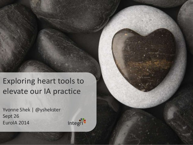 Exploring heart tools to elevate our IA practice Yvonne Shek | @yshekster Sept 26 EuroIA 2014