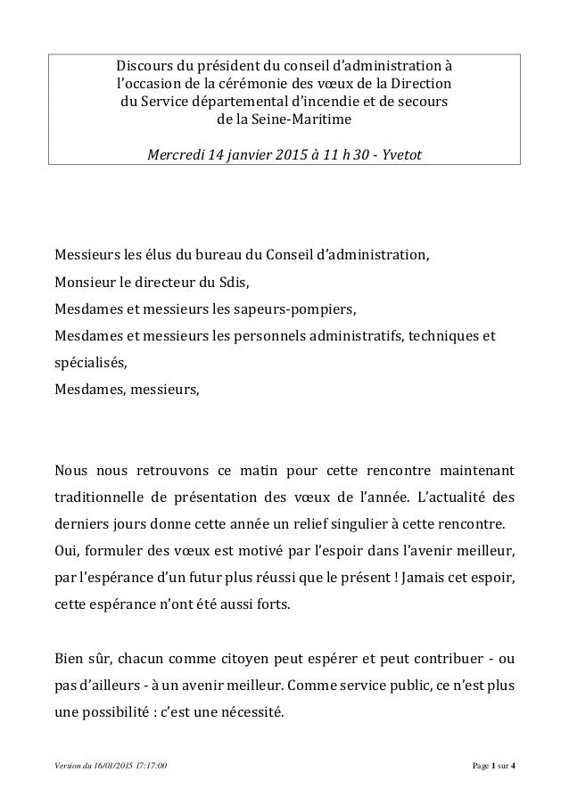 Version du 16/01/2015 17:17:00 Page 1 sur 4 Discours du président du conseil d'administration à l'occasion de la cérémonie...