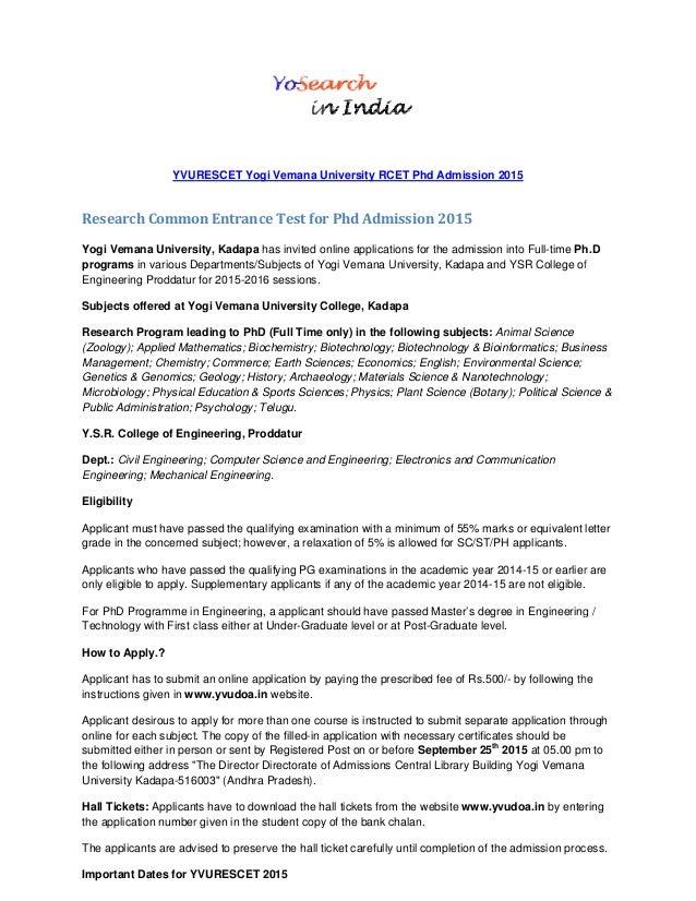 Yvurescet 2015 Yogi Vemana University Rcet For Phd Admission