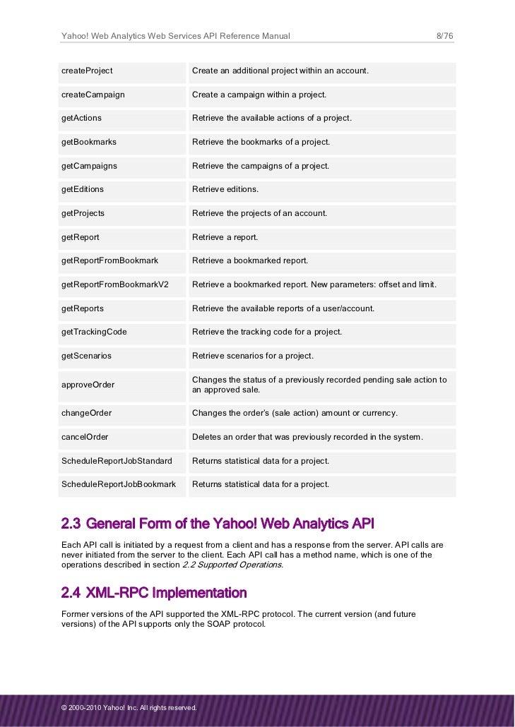 Yahoo Web Analytics API Reference Guide