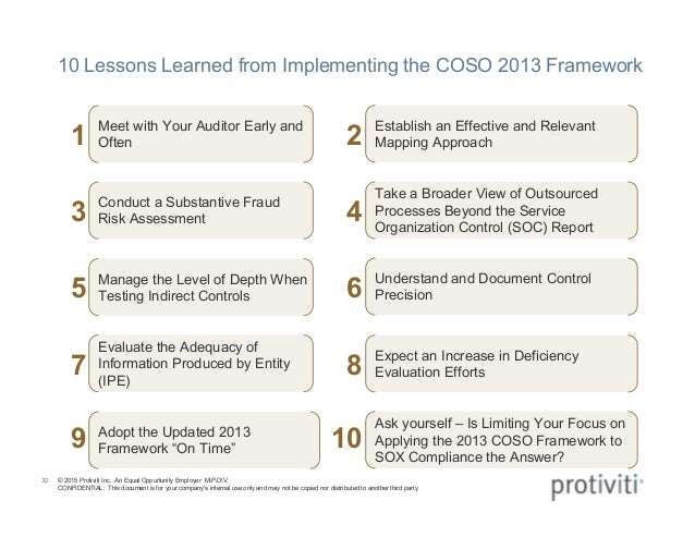 top 10 lessons learned from coso 2013 implementation
