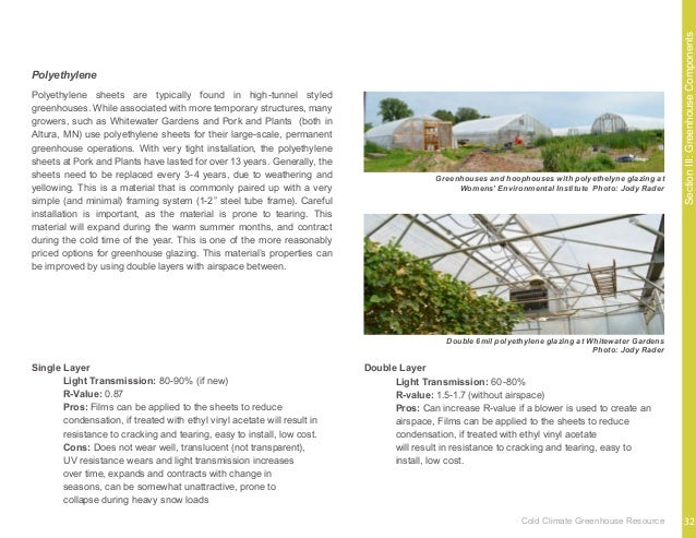 SectionIII:GreenhouseComponents The most basic method for maintaining temperatures in the cold- climate greenhouse is to u...