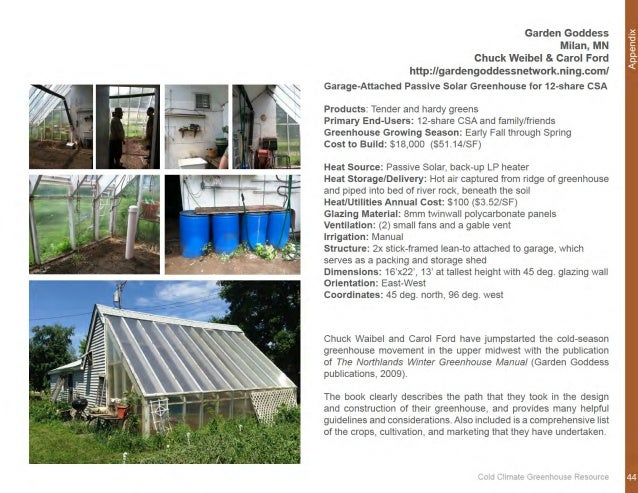 Cold Climate Greenhouse A Manual For Designing And Building