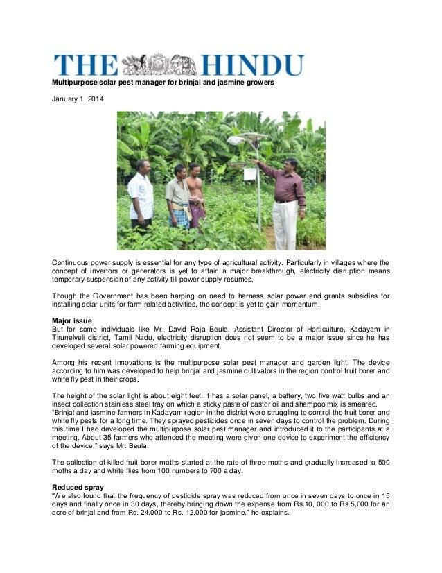 Multipurpose Solar Pest Manager; Gardening Guidebook for India