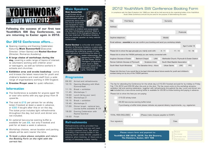 Main Speakers                                        2012 YouthWork SW Conference Booking Form                            ...