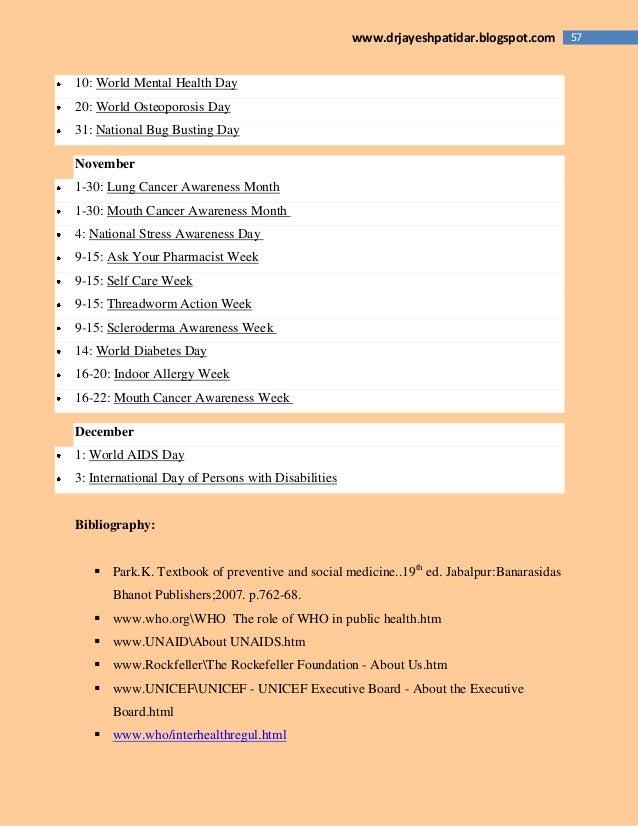 57www.drjayeshpatidar.blogspot.com 10: World Mental Health Day 20: World Osteoporosis Day 31: National Bug Busting Day Nov...