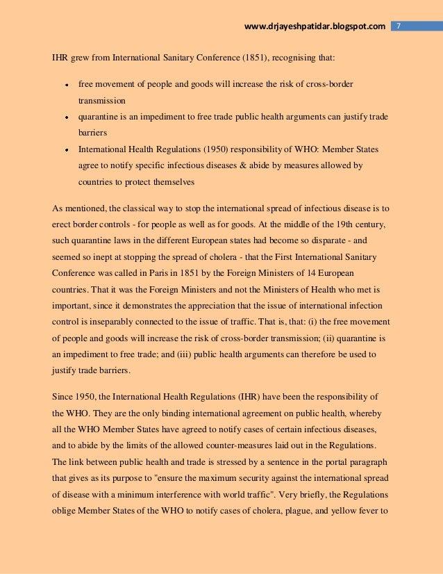 7www.drjayeshpatidar.blogspot.com IHR grew from International Sanitary Conference (1851), recognising that: free movement ...
