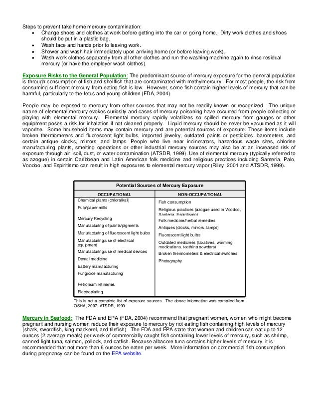 Mercury Exposure & Toxicity